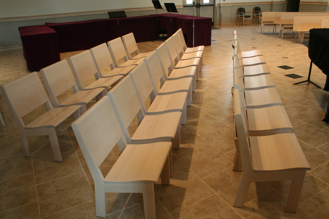Sauder Pews With Sauder Unity Seating, In Maple